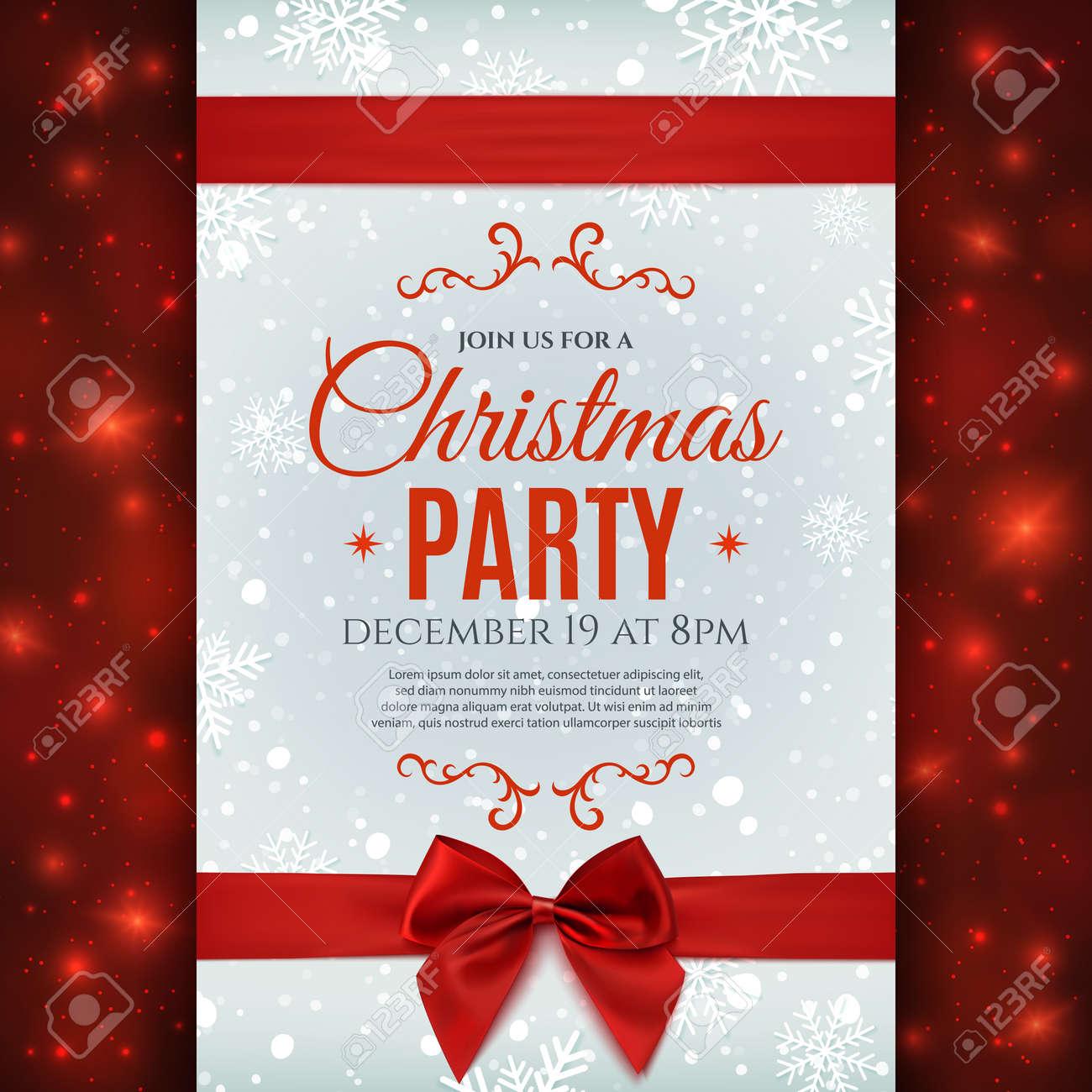 la plantilla del cartel fiesta de navidad con nieve y copos de nieve fondo de