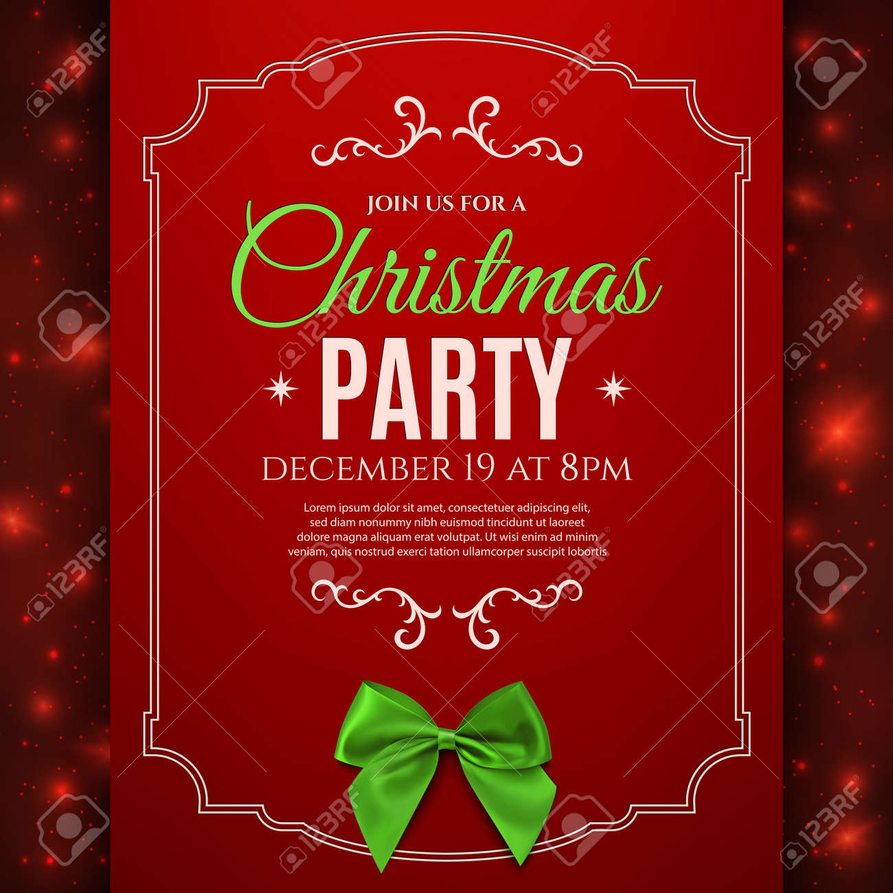 Christmas Party Poster Template With Green Bow Christmas – Christmas Poster Template