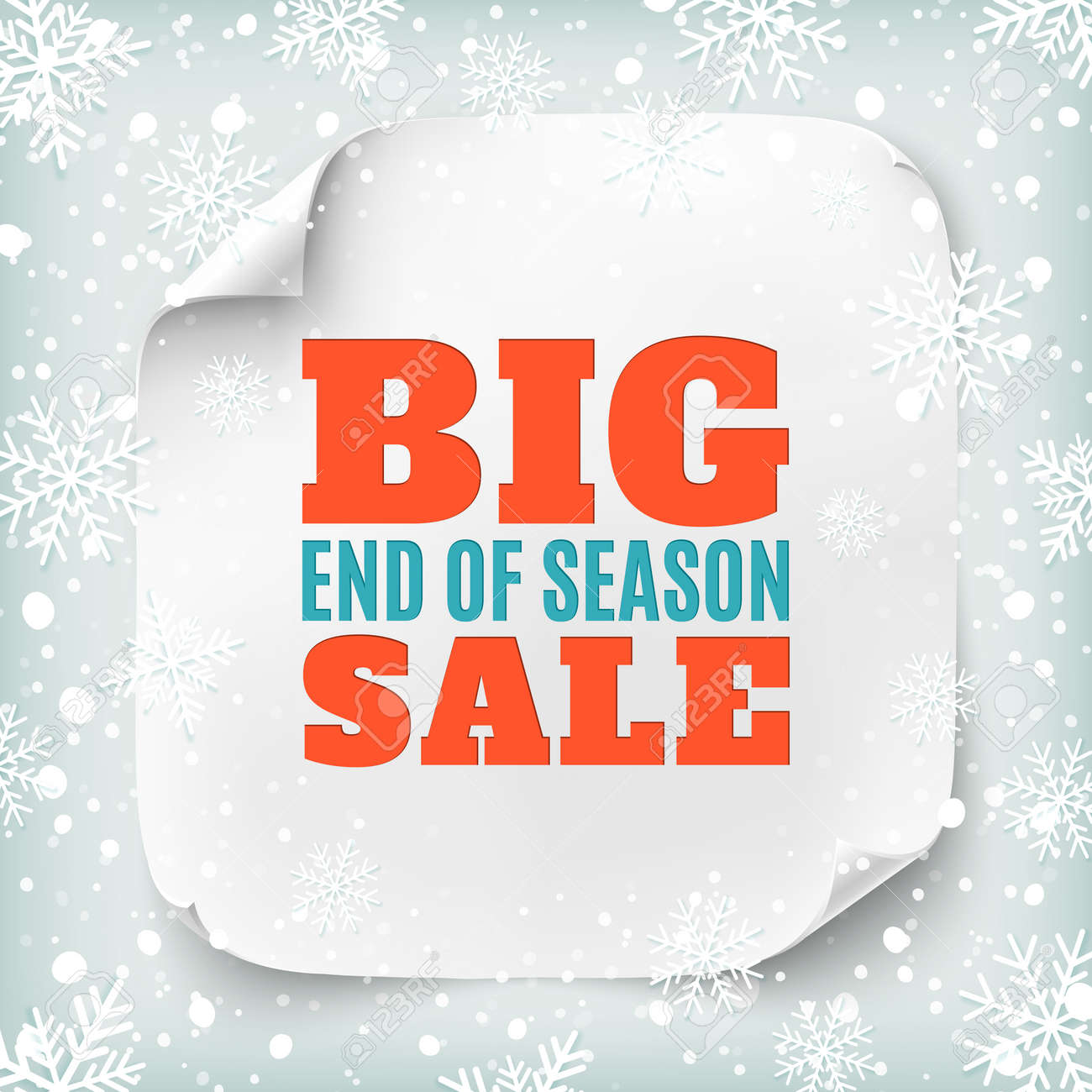 aa5428818b0 Big end of season sale poster. White square paper banner on winter  background with snow