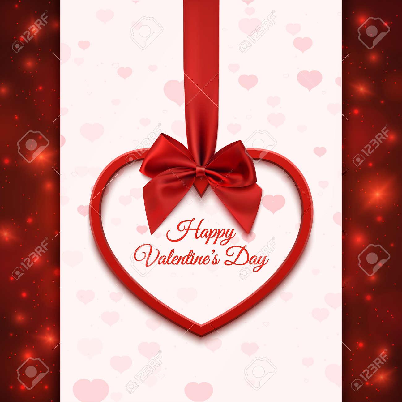 Happy Valentines Tag Grußkartenvorlage. Rotes Herz Mit Rotem Band ...