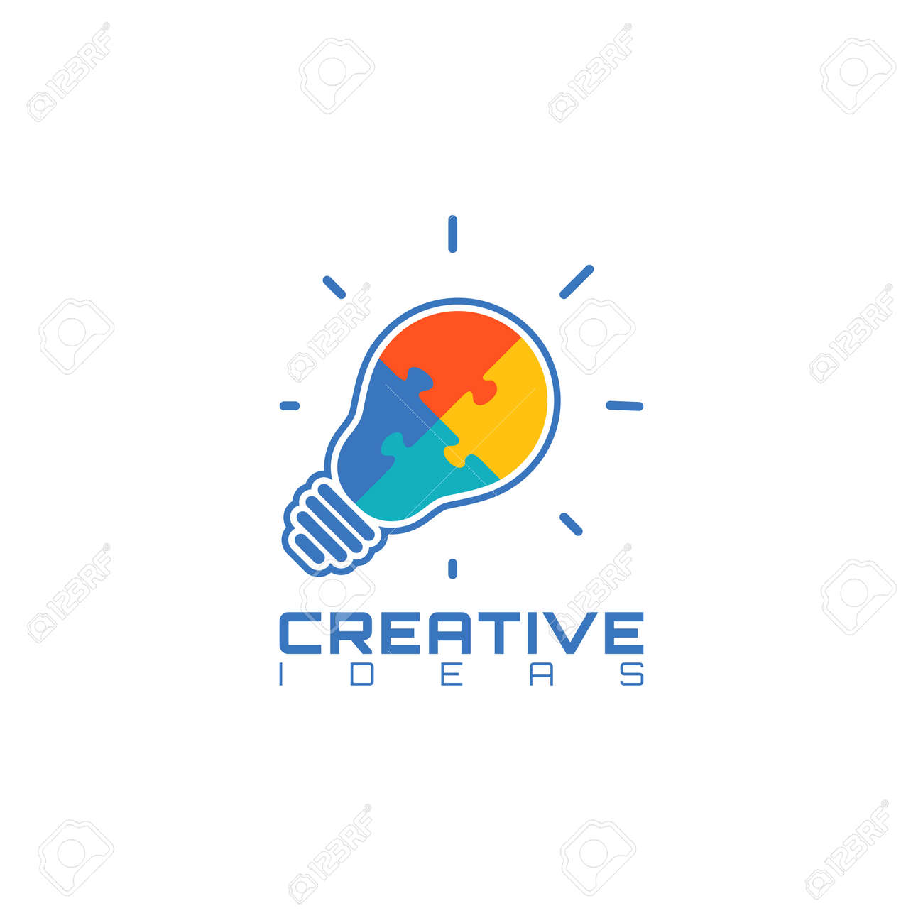 Light Bulb With Jigsaw Puzzle Pieces Inside. Creative Ideas Icon ...