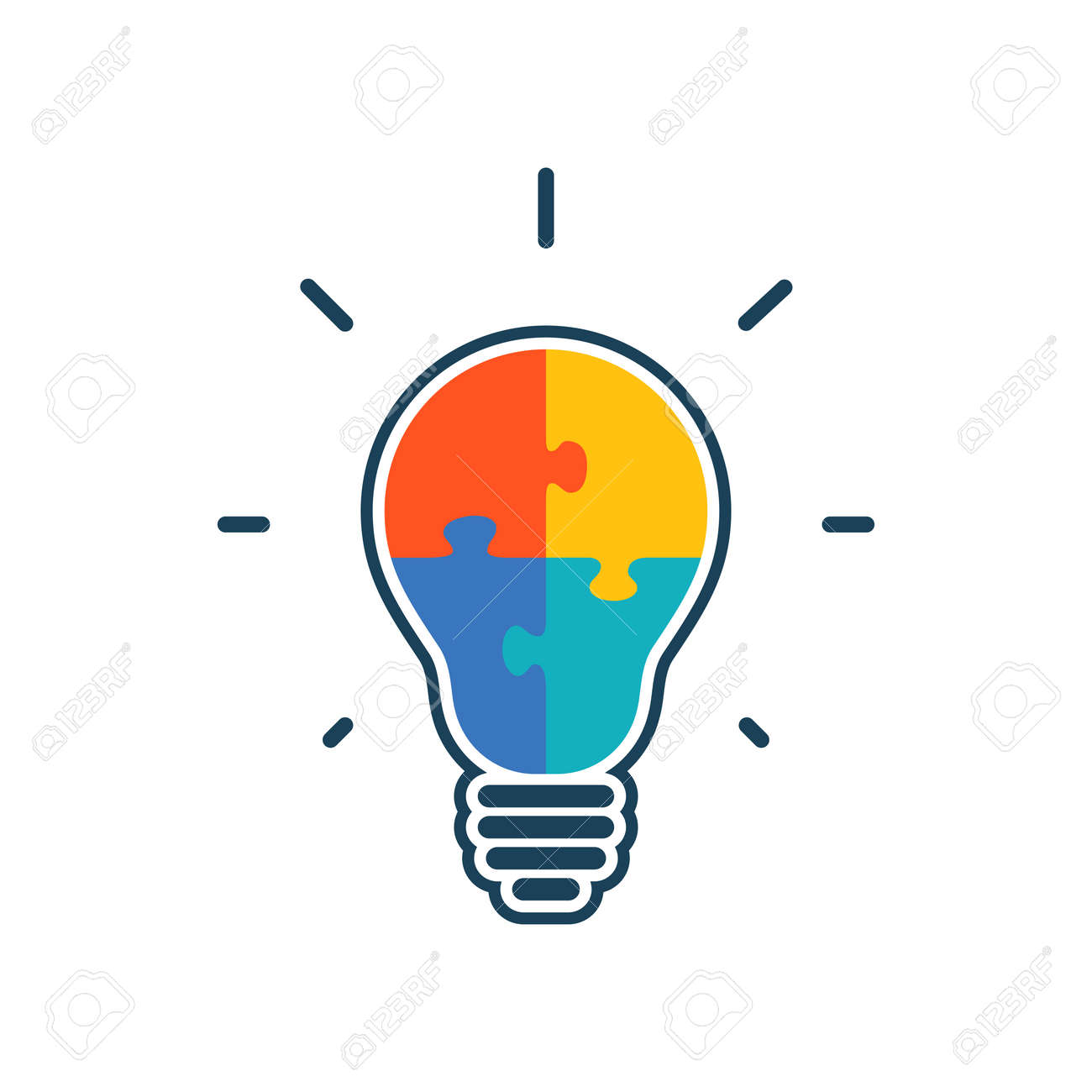 Simple flat light bulb icon with jigsaw puzzle pieces inside. Vector illustration. - 52220805