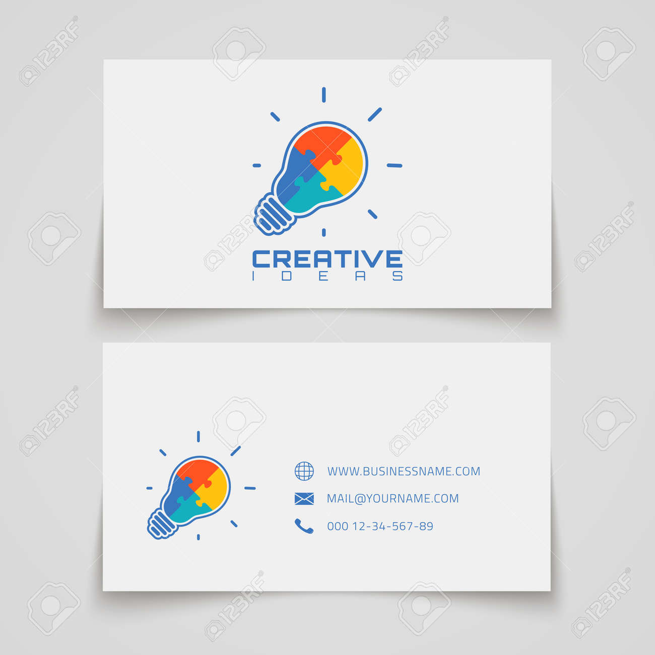 Business card template light bulb with jigsaw puzzle pieces business card template light bulb with jigsaw puzzle pieces inside conceptual logo vector colourmoves