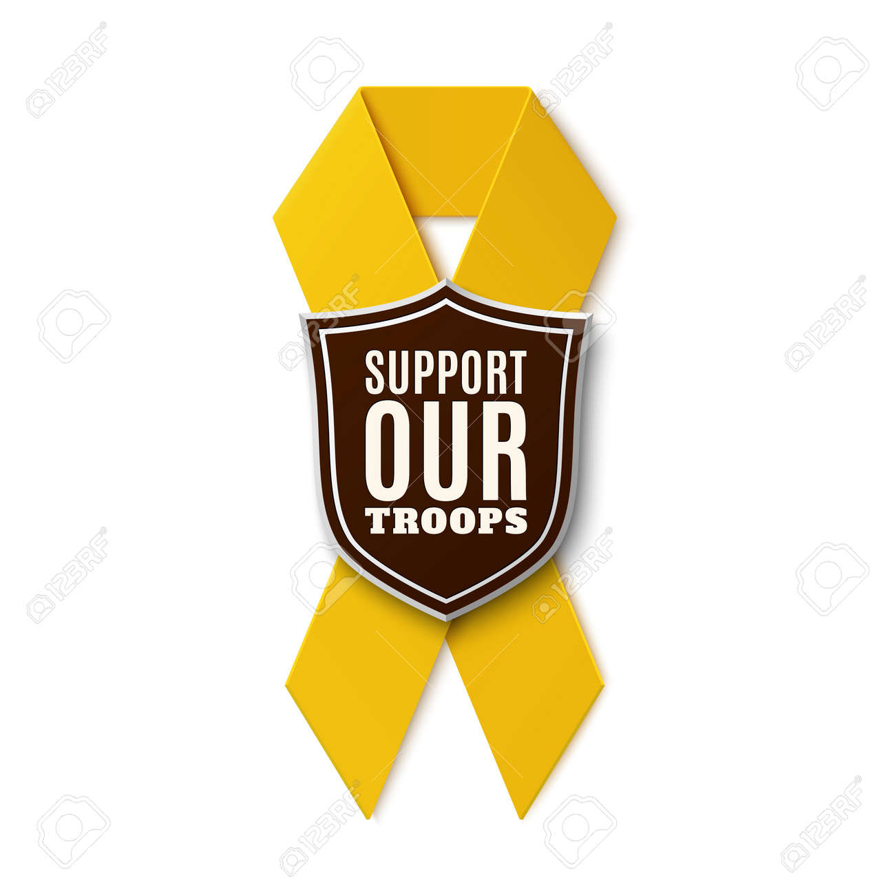 Support our troops. Yellow ribbon with shield isolated on white background. Vector illustration. - 52231707