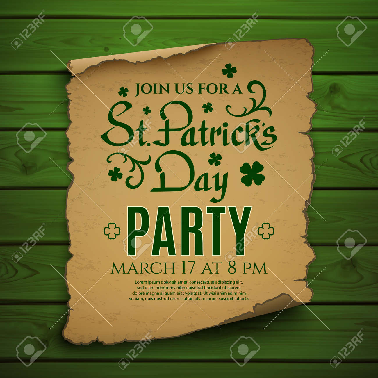 St. Patricks Day Party. Invitation Poster, Flyer Or Brochure ...