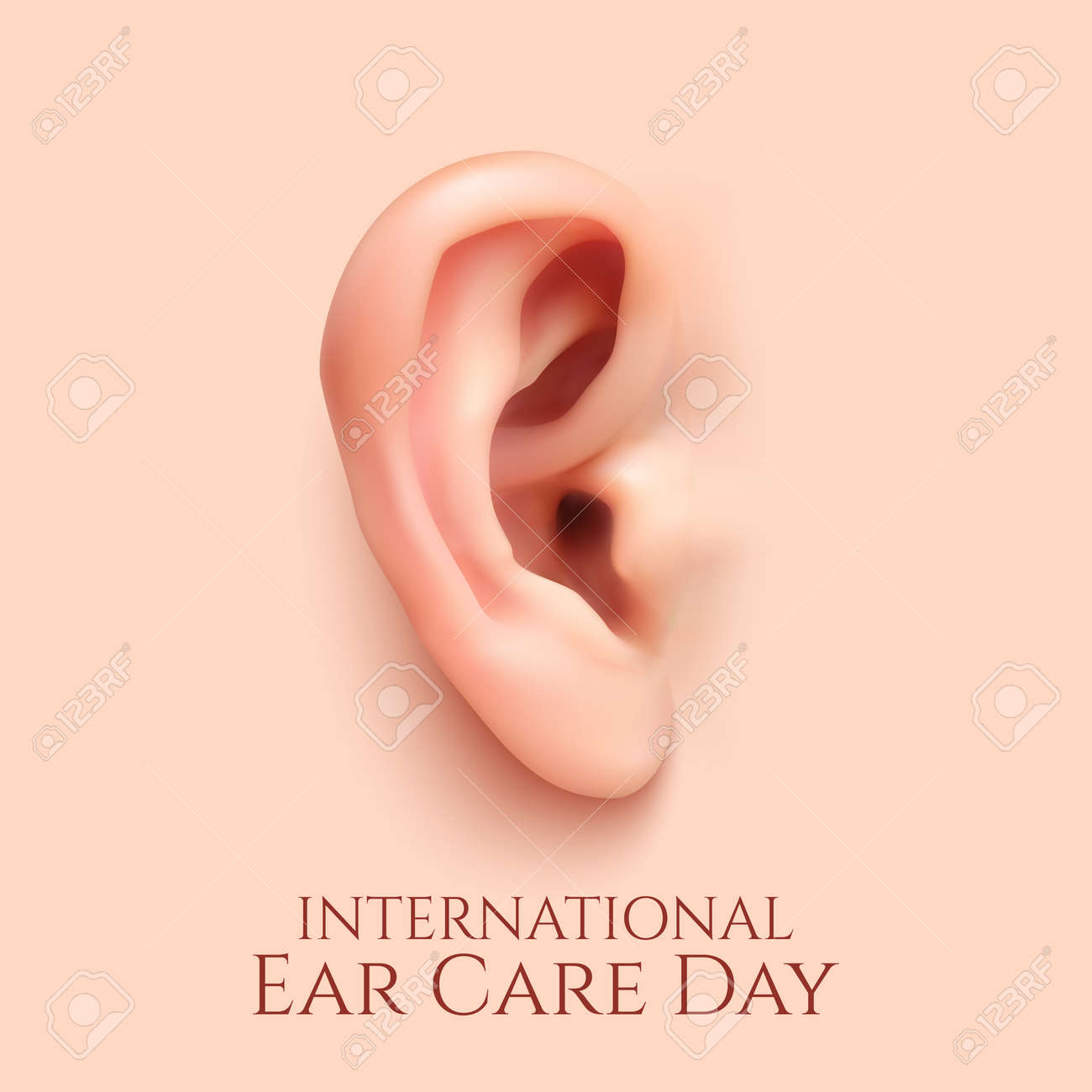 International ear care day .Background with realistic ear. Vector illustration. - 52578951