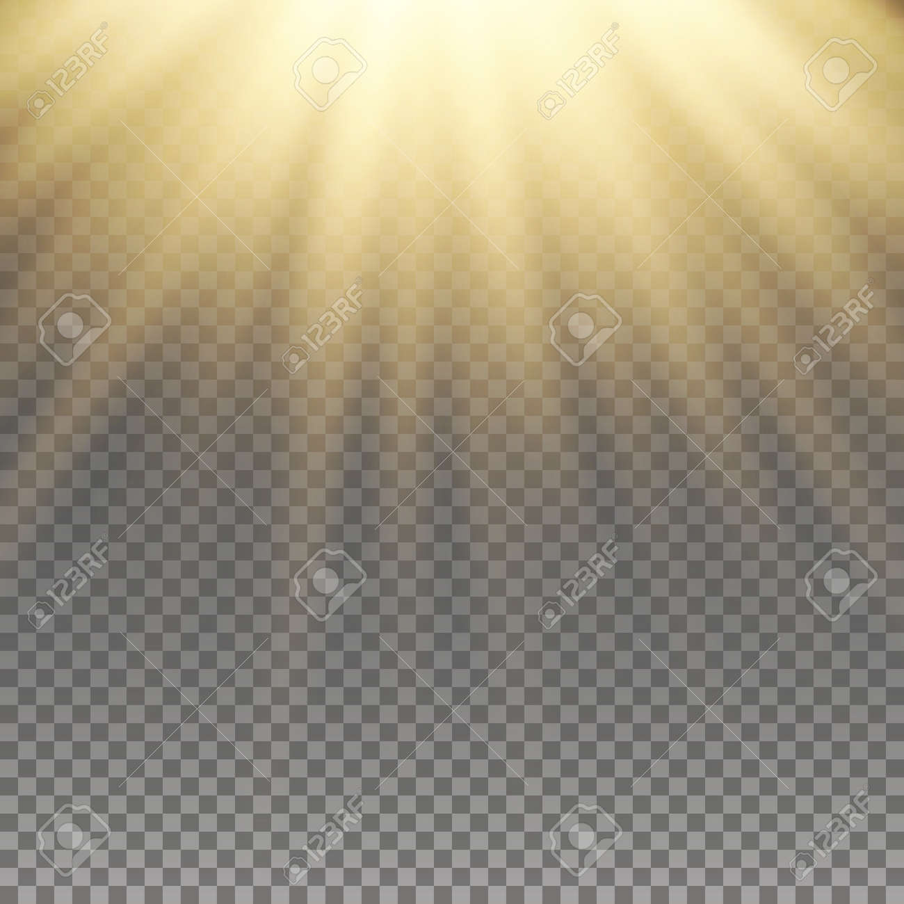Yellow warm light effect, sun rays, beams on transparent background. Vector illustration. - 53072393