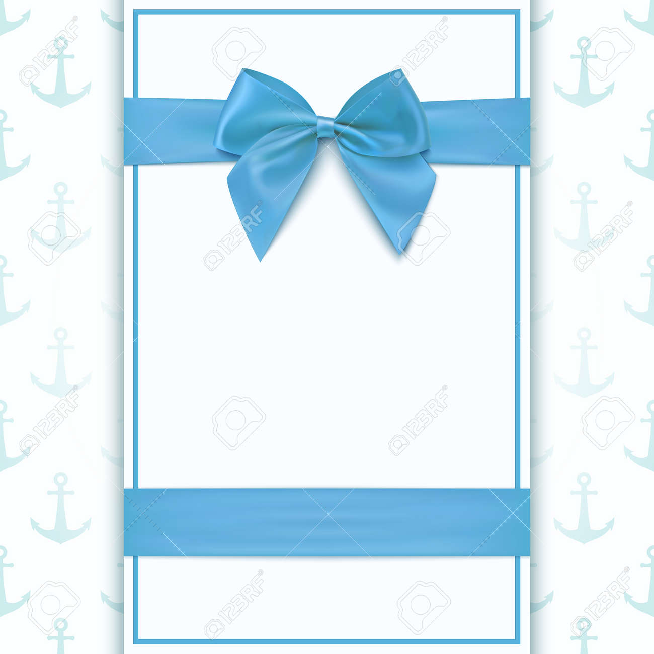 Blank Greeting Card Template For Baby Boy Shower Celebration