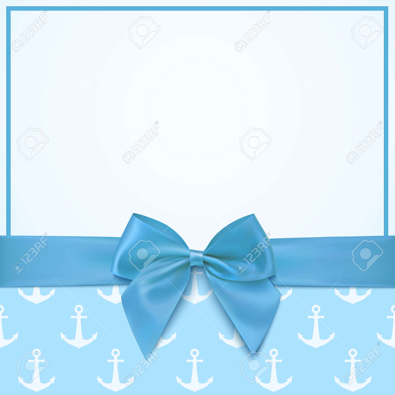 Blank greeting card template for baby boy shower celebration or baby boy announcement card. Vector illustration. - 53055719