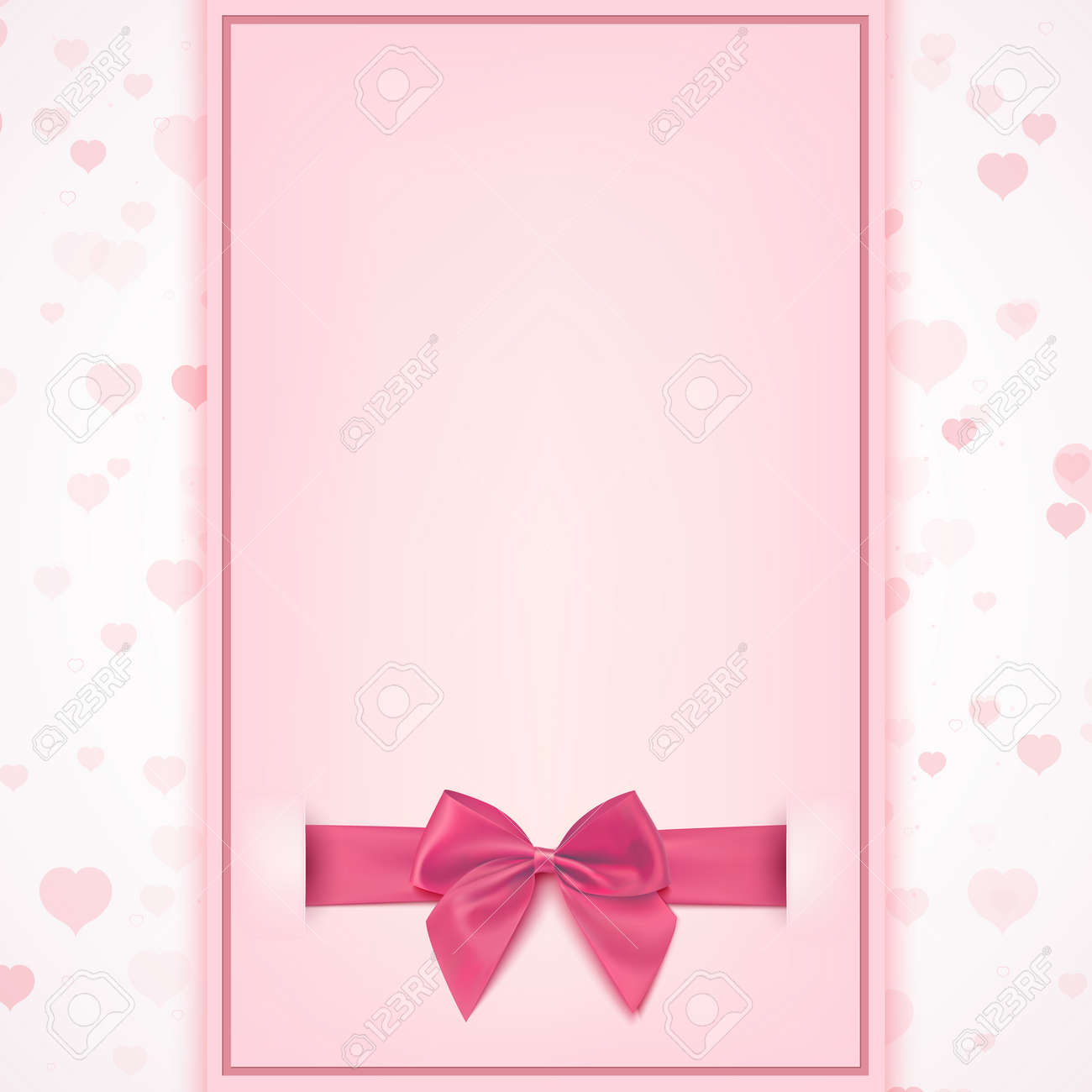 Blank greeting card template for baby girl shower celebration, birthday, or baby girl announcement card, Valentines day, Womens day, Mothers day. Vector illustration. - 53357246
