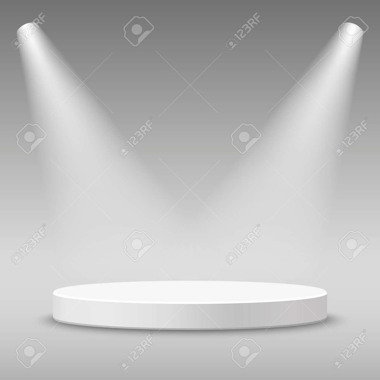 Illuminated round stage podium pedestal. illustration. - 53902027