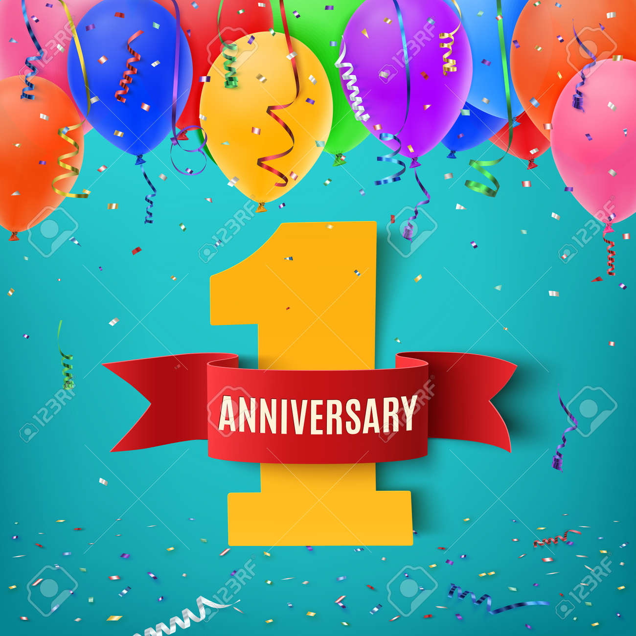 One year anniversary celebration background with red ribbon confetti and balloons. Anniversary ribbon. Anniversary party poster or brochure template. Anniversary banner. Vector illustration. - 55701382