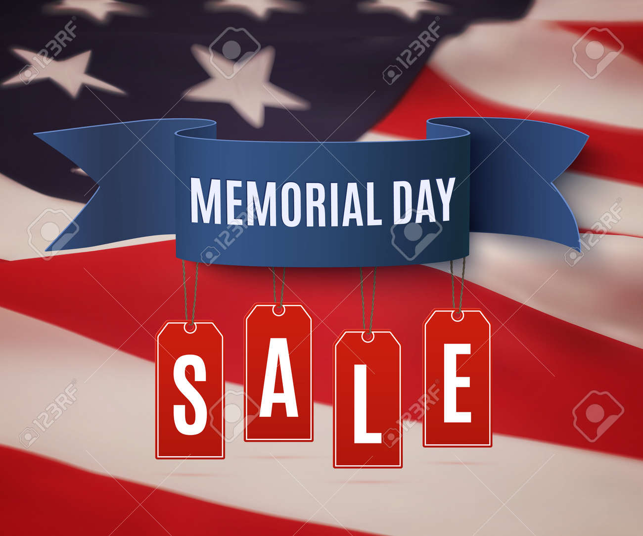 big memorial day sale background template badge with blue ribbon