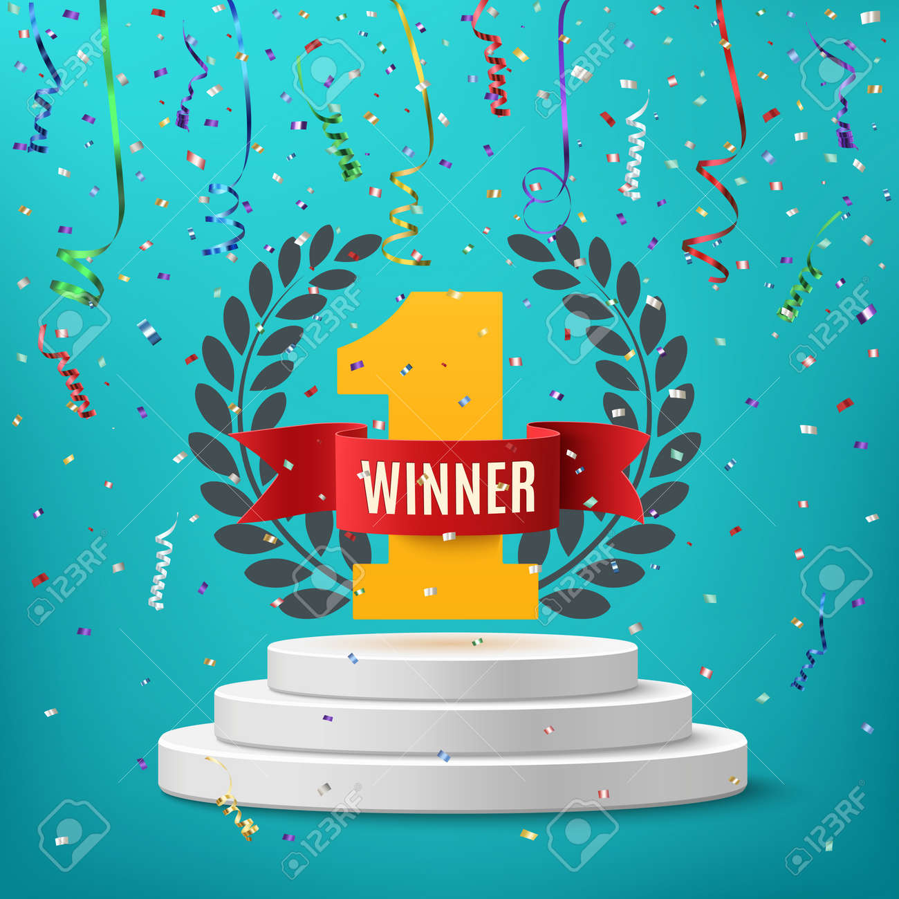 Winner, number one background with red ribbon, olive branch and confetti on round pedestal isolated on blue. Poster or brochure template. illustration. - 56834158