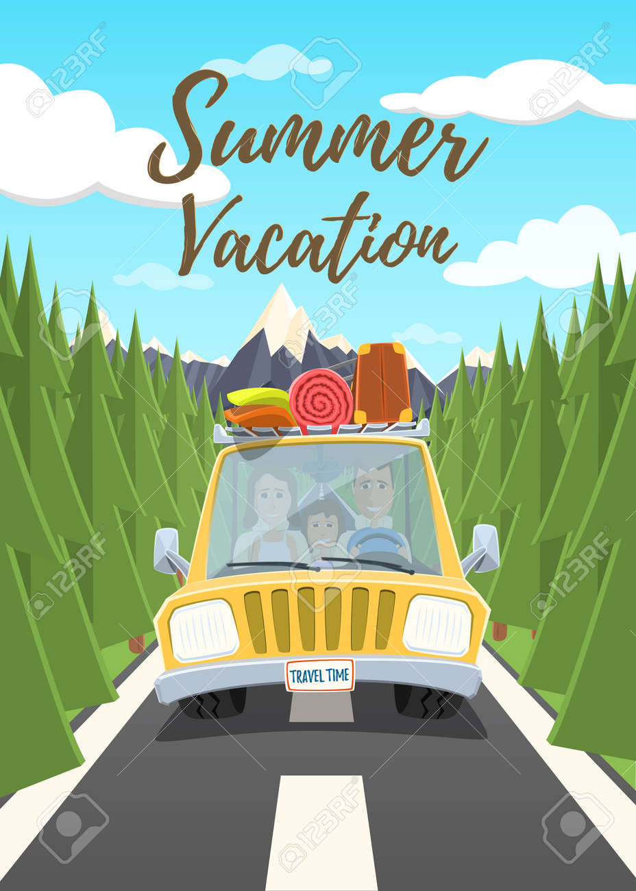 Summer Vacation Poster Happy Family Traveling In The Car Illustration Stock Vector