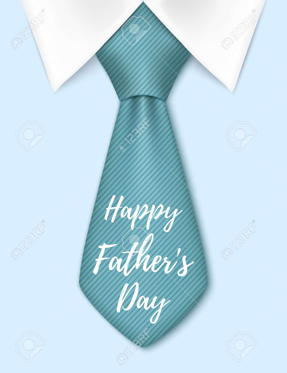 happy fathers day background with blue tie greeting card template