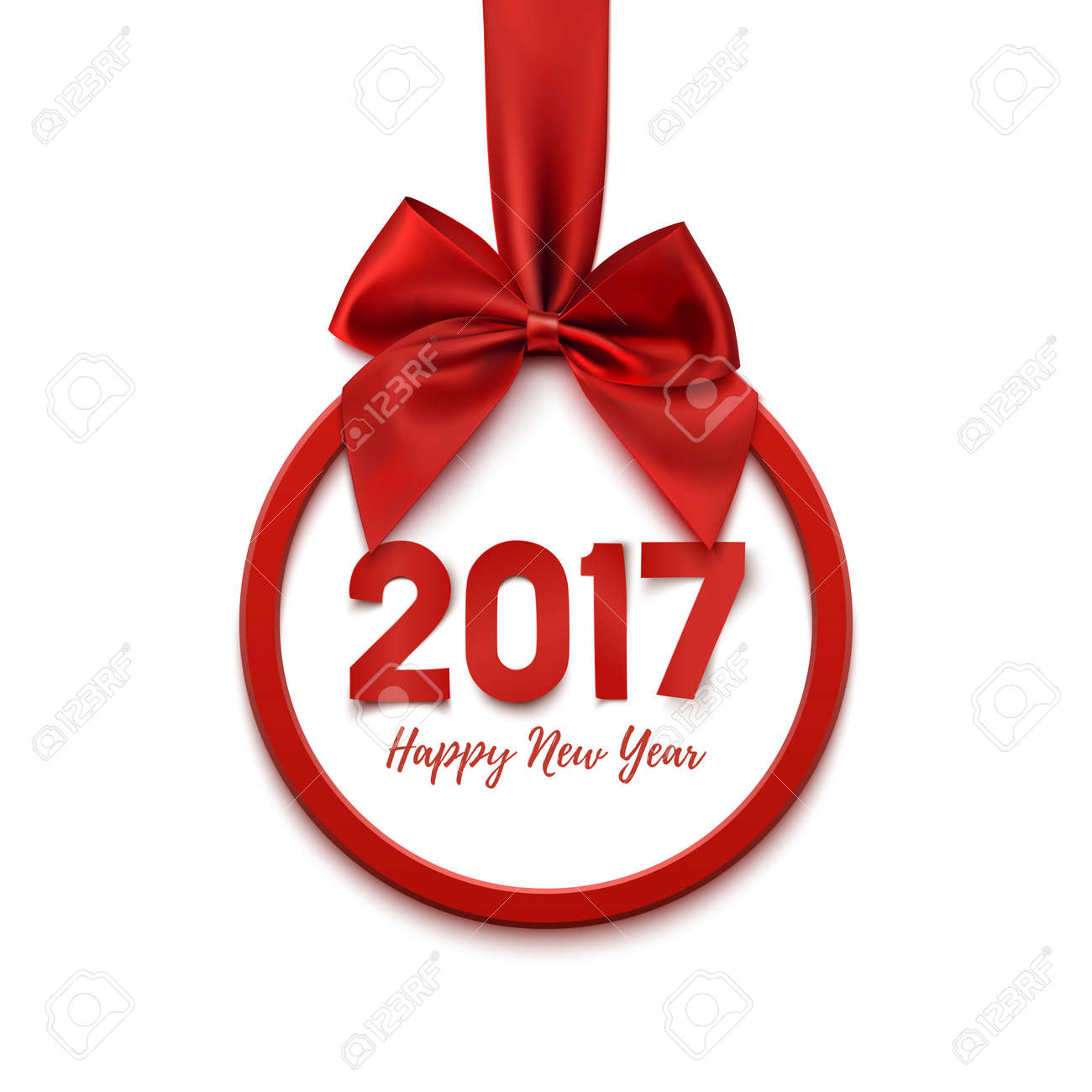 happy new year 2017 round banner with red ribbon and bow on white background