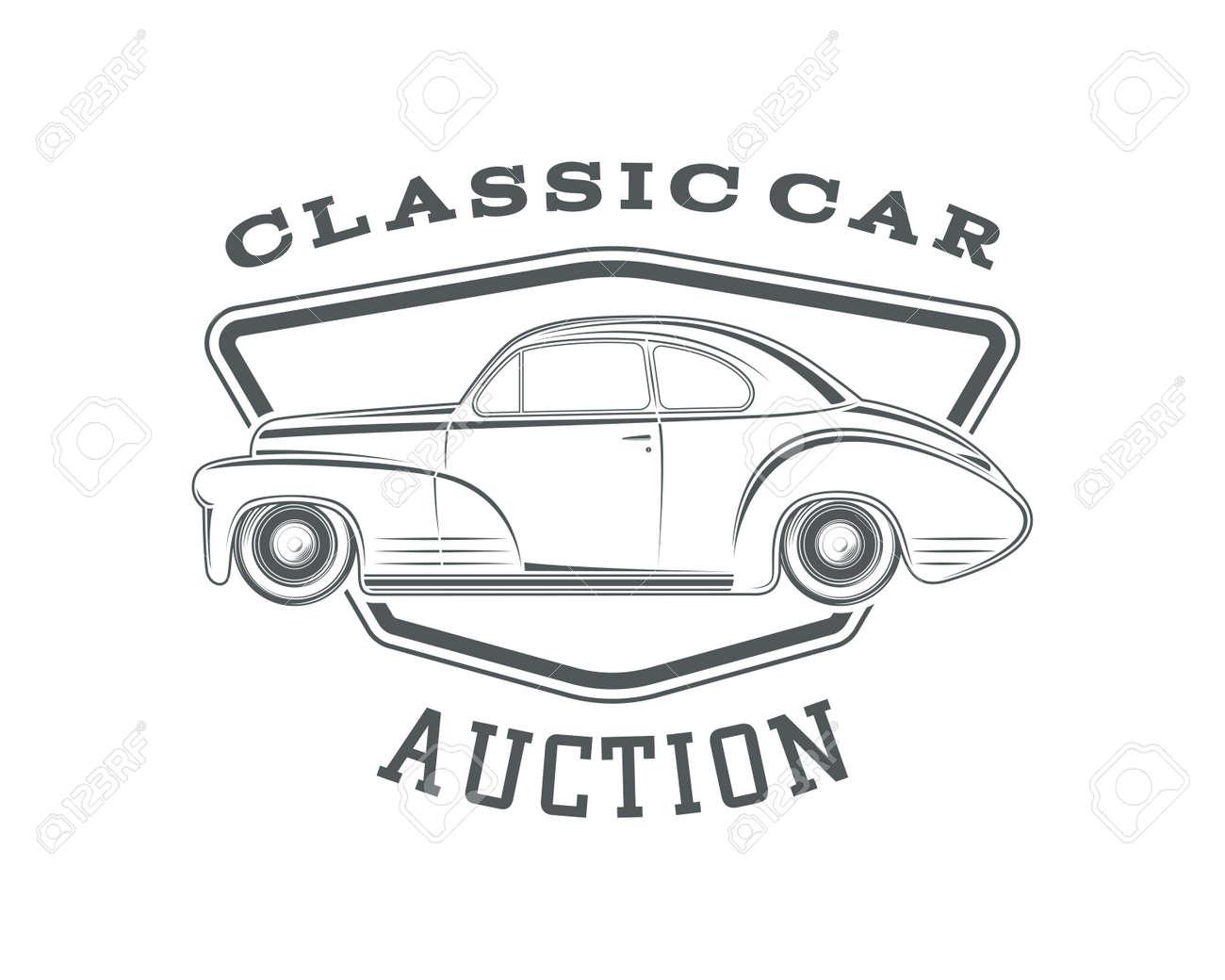 Vintage, Classic Car Label, Car Auction Badge Template. Vintage ...