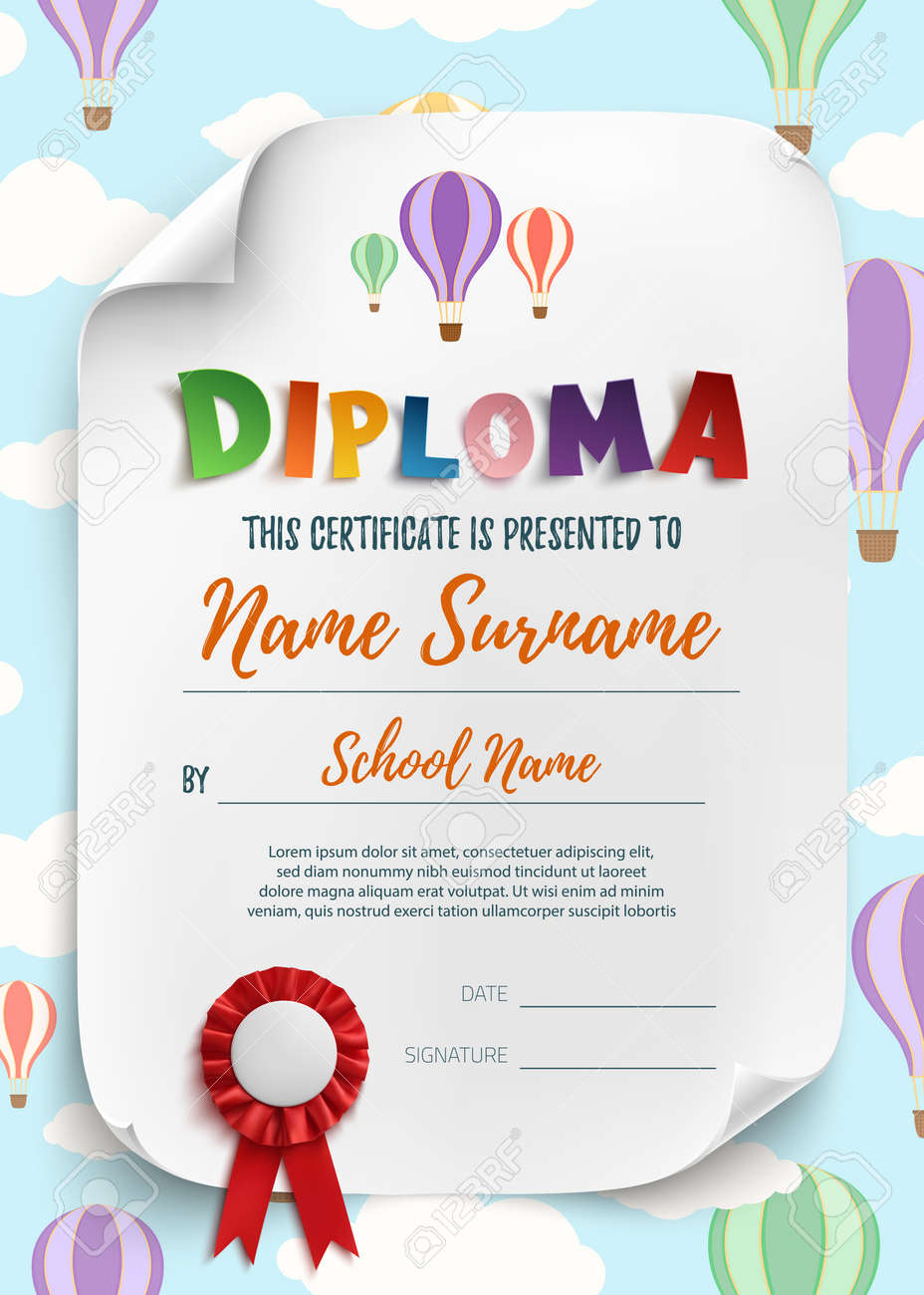 Diploma Template For Kids Certificate Background Vector
