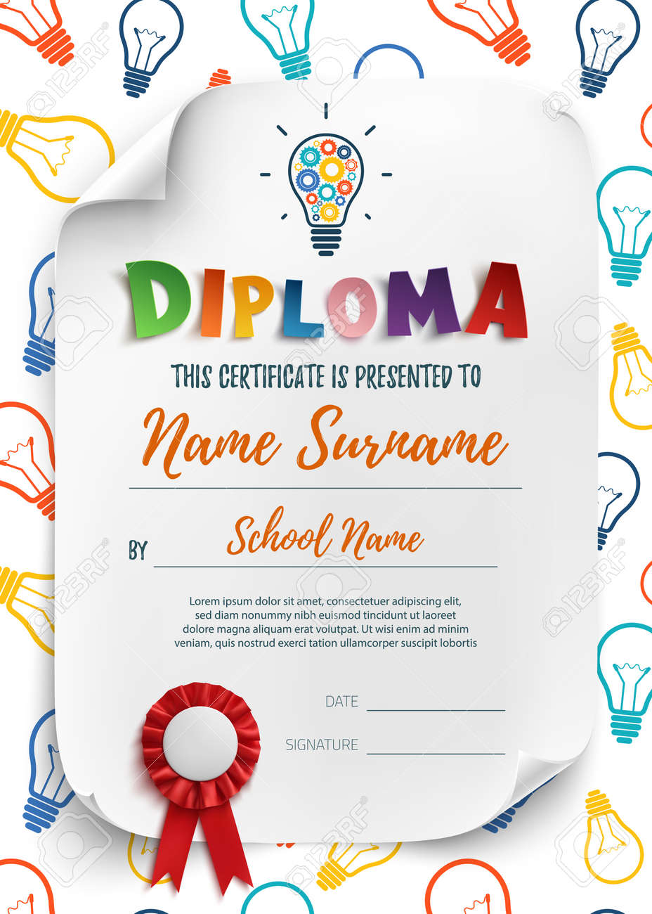 Diploma template for kids school preschool playschool diploma template for kids school preschool playschool certificate background wit colorful light yadclub Choice Image