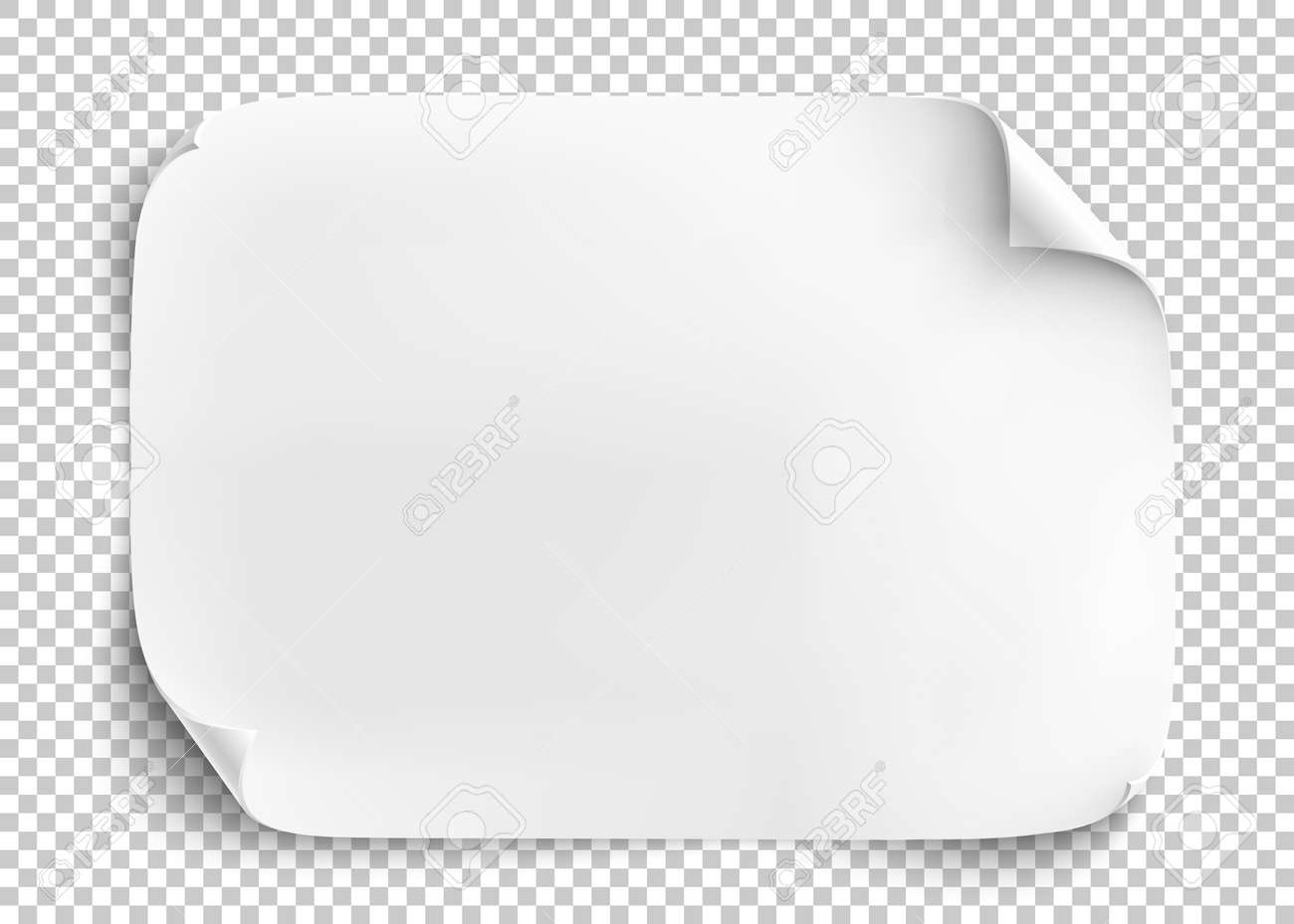 White sheet of paper on transparent background. - 59302556