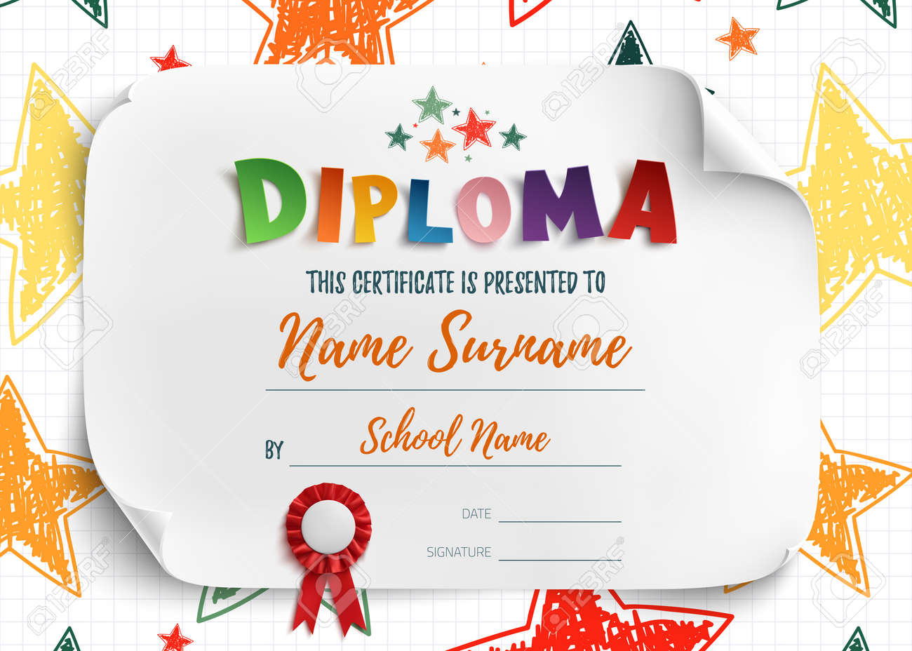 Diploma Template For Kids Certificate Background With Hand Drawn