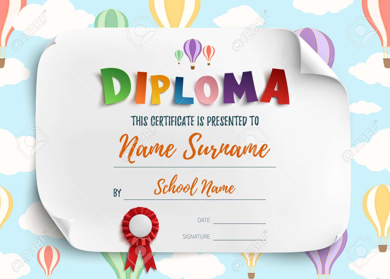 Diplom-Vorlage Für Kinder, Zertifikat Hintergrund Mit Luftballons ...