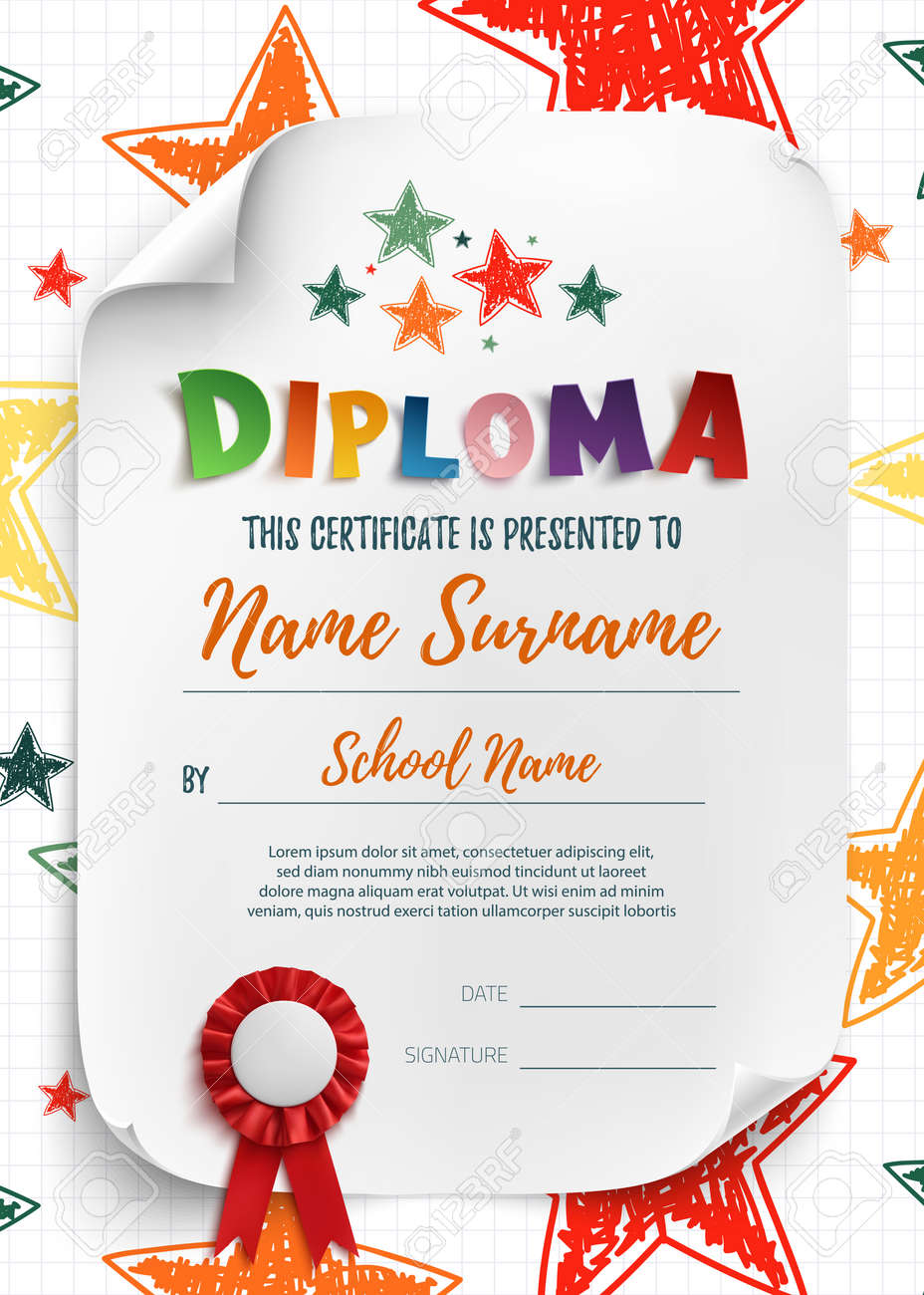 Diploma template for kids certificate background with hand drawn diploma template for kids certificate background with hand drawn stars for school preschool or yelopaper Image collections