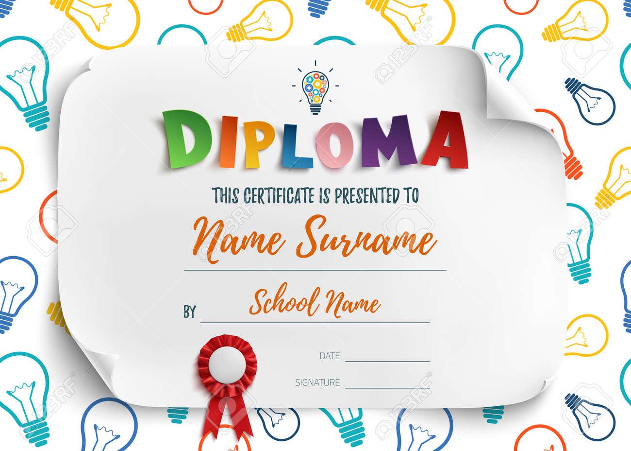 Diploma Template For Kids School Preschool Playschool Certificate
