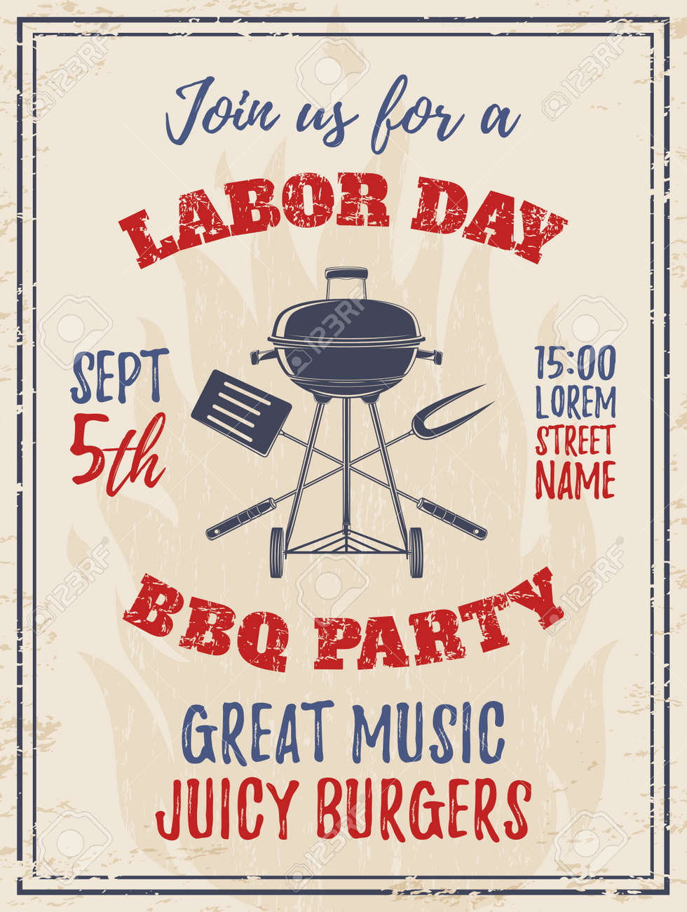 Vintage Labor Day Bbq Party Background Barbecue Poster Brochure