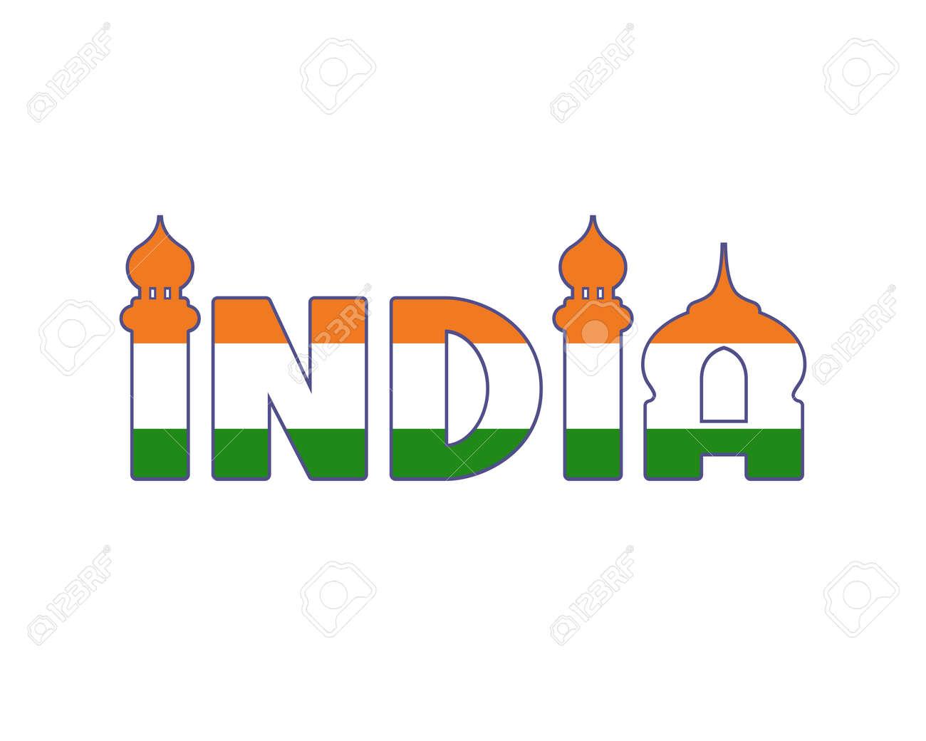 Palabra Escrita A Mano De La India Aislada En El Fondo Blanco ...