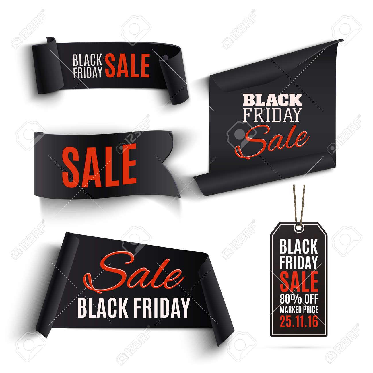Set Von Black Friday Banner Und Preisschilder Auf Weißem Hintergrund