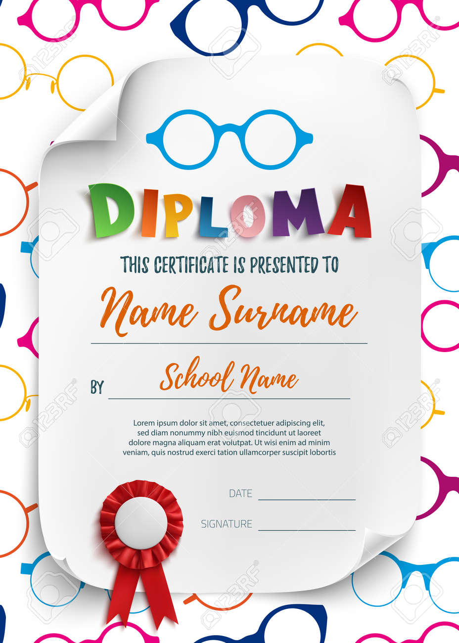 Diploma template for kids school preschool playschool diploma template for kids school preschool playschool certificate background wit colorful reading alramifo Images