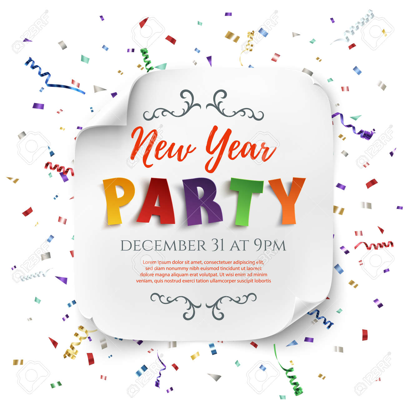 New Year Party Poster Template With Ribbons And Confetti Isolated ...