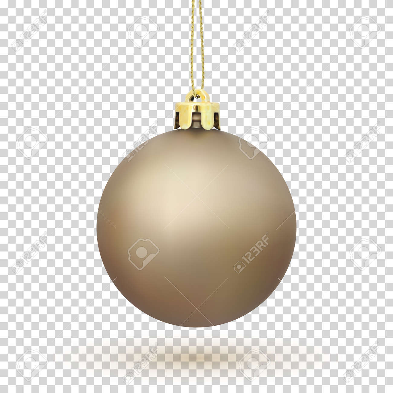 Golden Christmas Tree Ball Decoration Isolated On Transparent Background Vector Illustration Stock