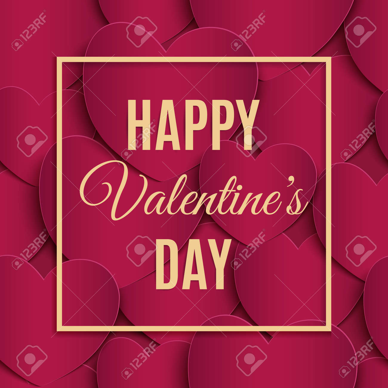 Happy Valentines Day Greeting Card Template. Royalty Free Cliparts ...