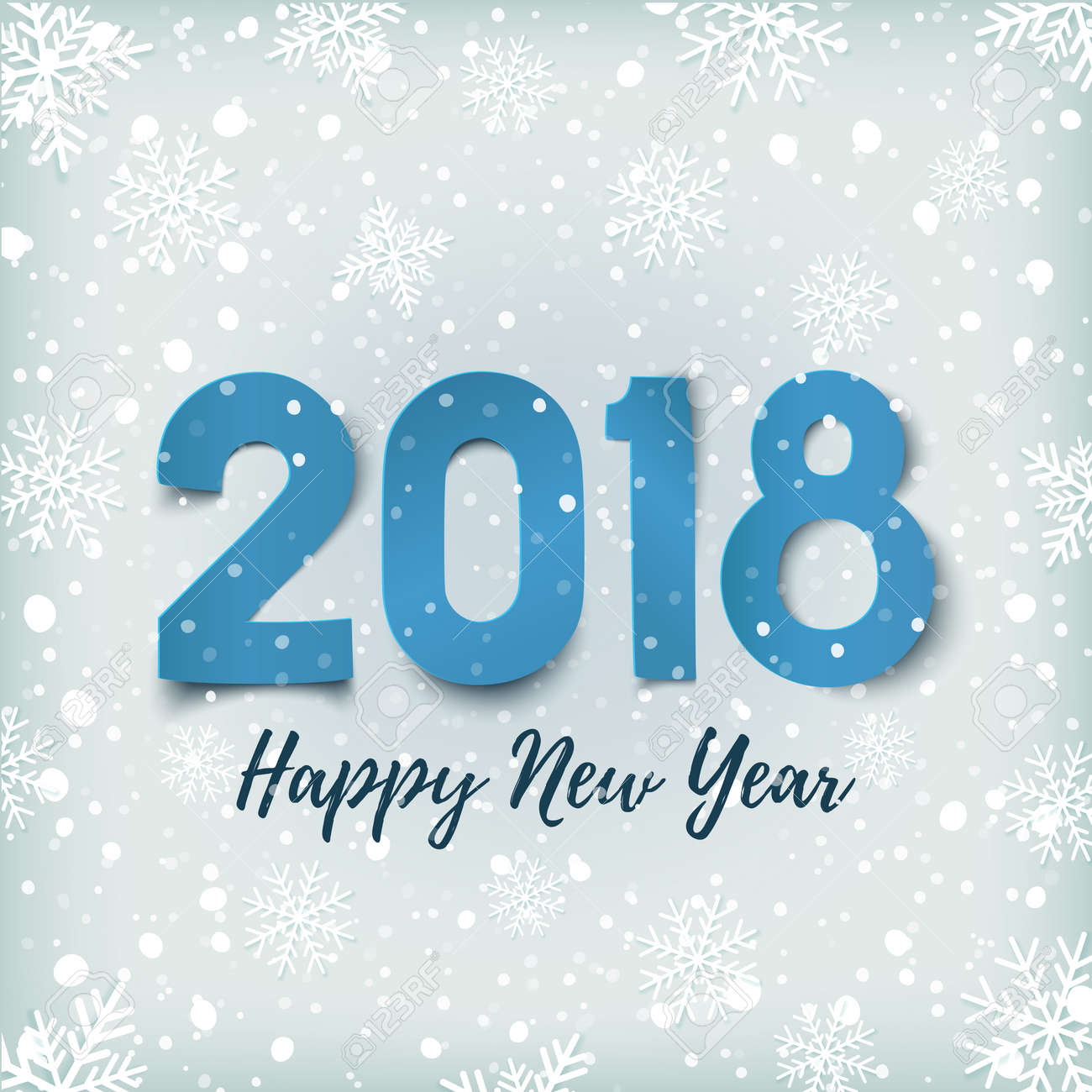 happy new year 2018 blue winter background with snow and snowflakes greeting card