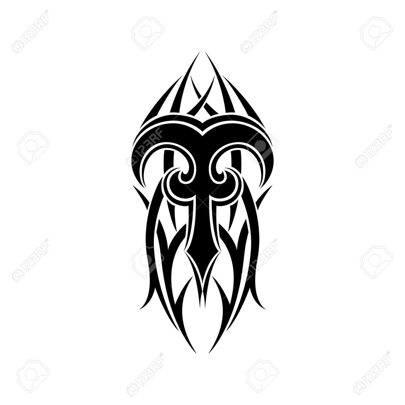 Widder Tierkreis Zusammenfassung Tribal Tattoo Design Isoliert Auf