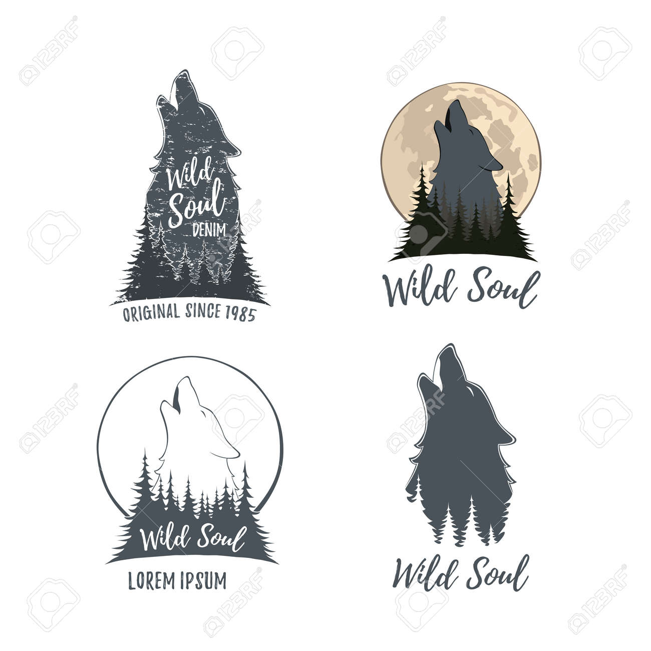 Set Von Vier Wolf Heulen Auf Dem Mond Im Wald. Vorlagen Isoliert Auf ...