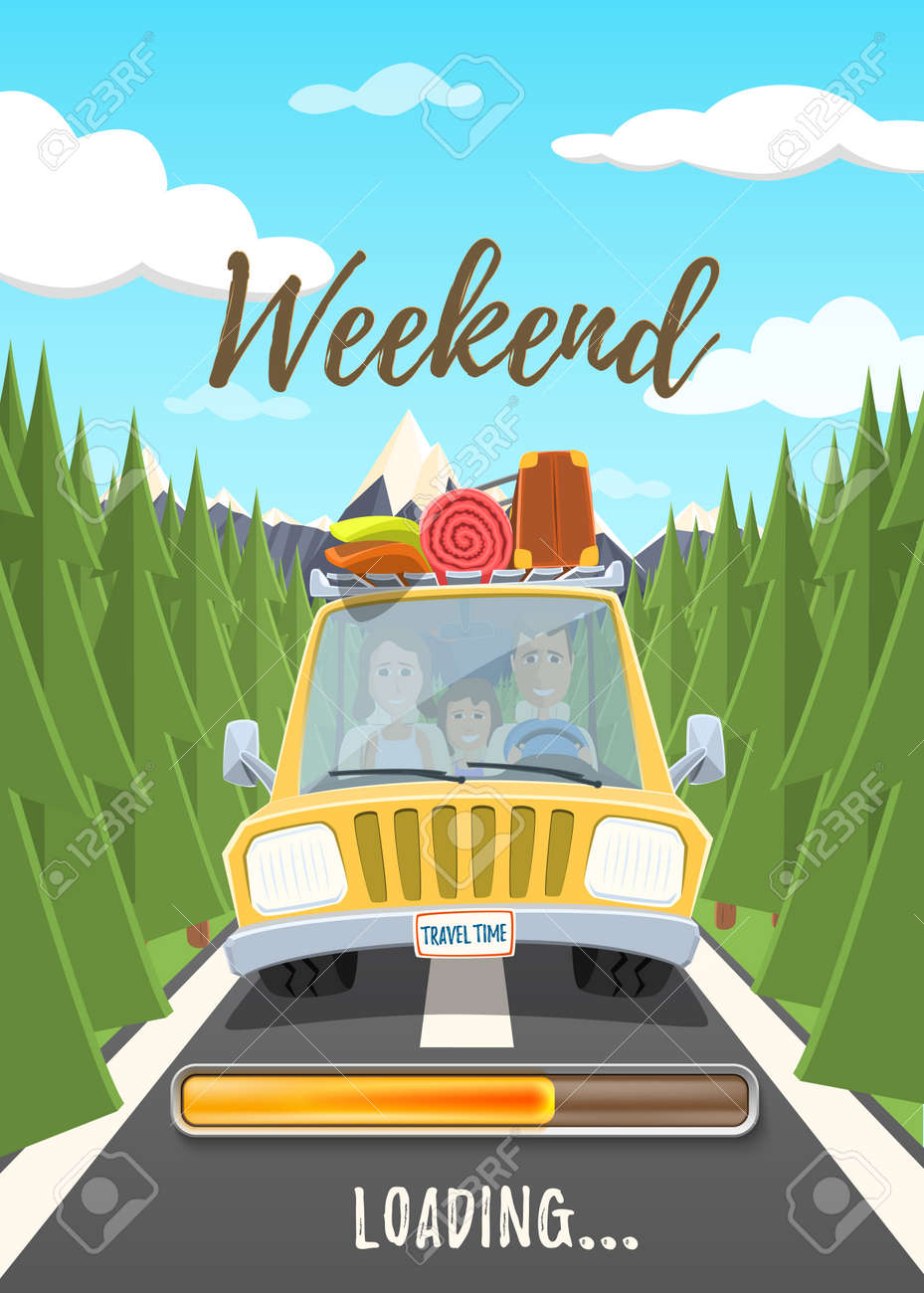 Weekend loading poster. Happy family traveling in the car. Vector illustration. - 81137102