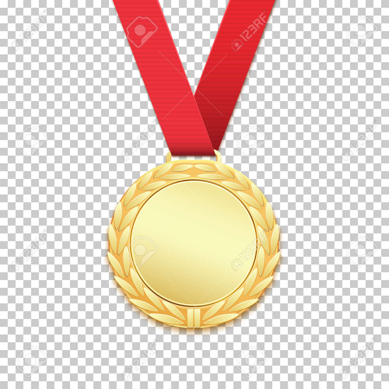Gold medal isolated on transparent background  Vector illustration