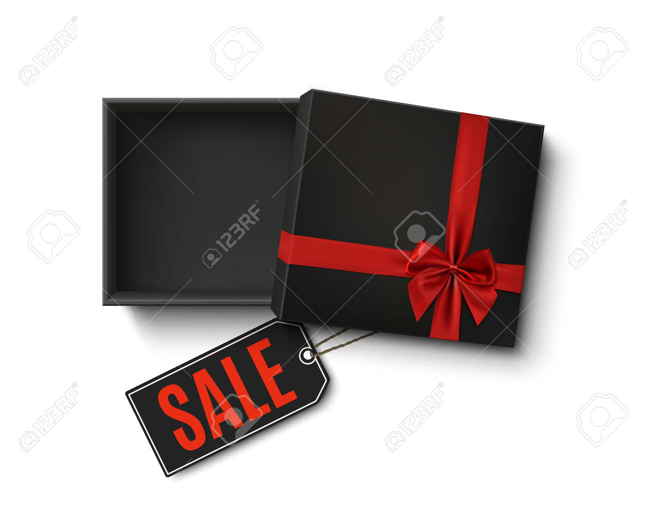 Opened black empty gift box with red ribbon, bow and sale price tag isolated on white background. Top view. Template for, banner, brochure or poster. Vector illustration. - 88082491