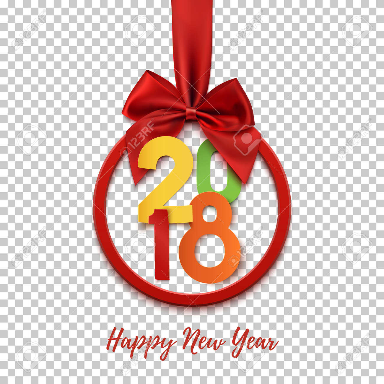 happy new year 2018 round banner with red ribbon and bow on transparent background