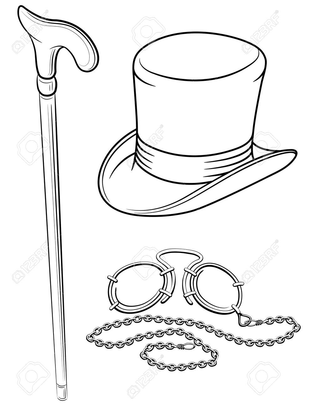 set of retro accessories with hat walking stick and pince-nez point  illustration, isolated on white background Stock Vector - 8529442