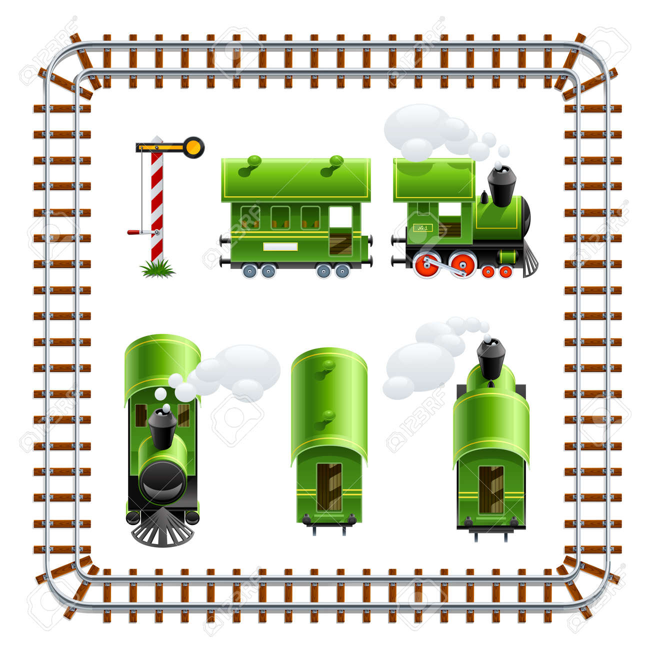 green vintage locomotive with coach set vector illustration isolated on white background Stock Vector - 11174188