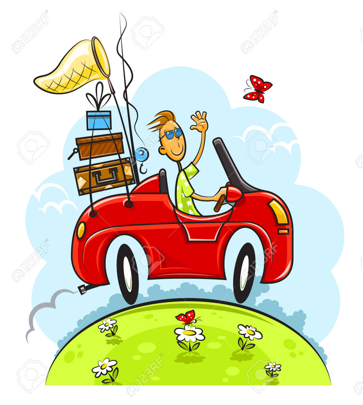 travel boy drive car vector illustration isolated on white background Stock Vector - 11345681