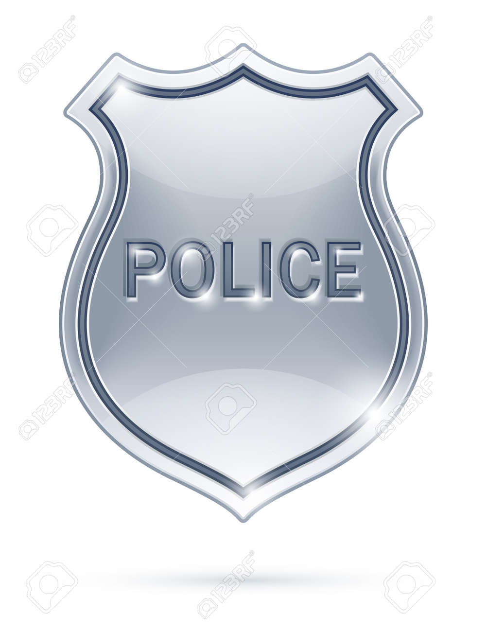 police badge vector illustration isolated on white background EPS10. Transparent objects used for shadows and lights drawing Stock Vector - 11944700