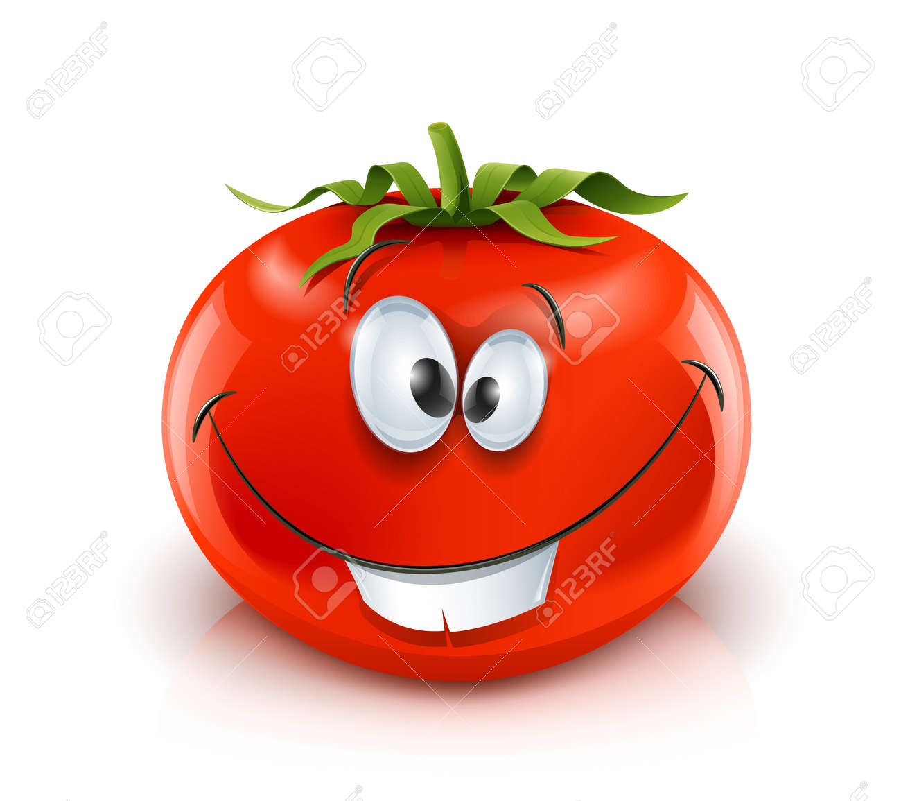 smiling red ripe tomato red ripe tomato vector illustration isolated on white background gradient mesh used - 12345155