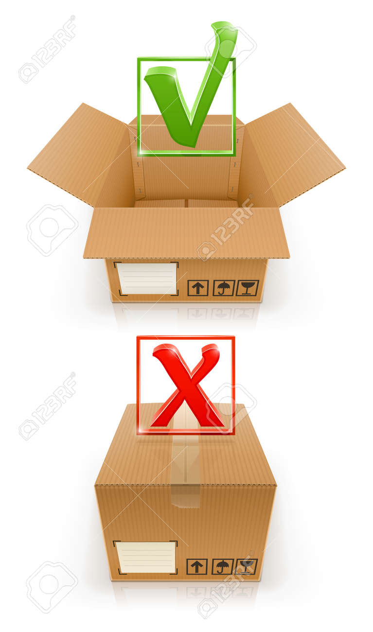 boxes with OK and cancel mark vector illustration isolated on white background Stock Vector - 12772683