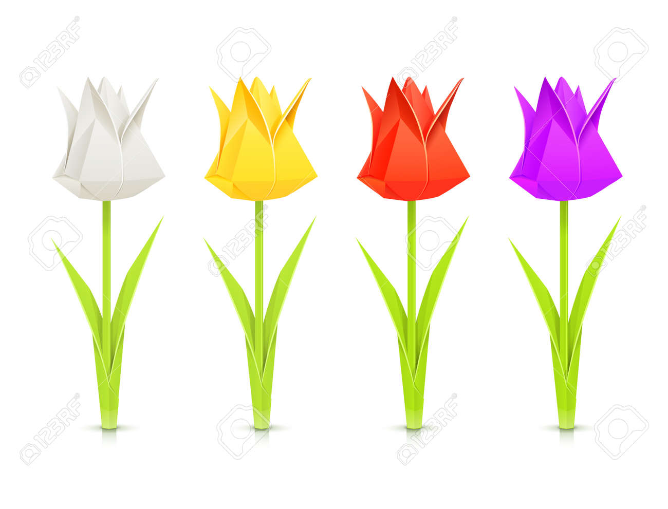 Set Of Tulips Paper Origami Flowers Vector Illustration Isolated On White Background EPS10 Transparent Objects